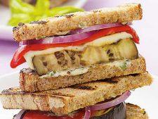Sandwich cu ciuperci, vinete si rosii