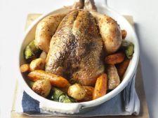 Pui la cuptor cu morcovi, praz si cartofi noi