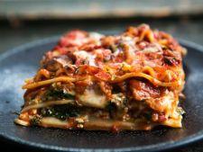 Lasagna vegetariana cu spanac si ciuperci