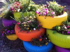 Cauciucurile vechi, decoratiuni si solutii neconventionale pentru gradina ta