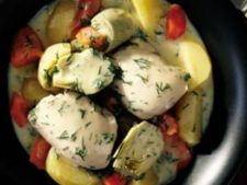 Pui grecesc cu tocana de legume