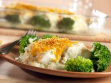 Peste in crusta crocanta cu broccoli si sos alb