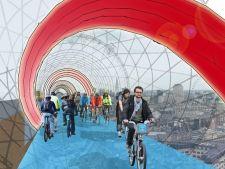 Skycycle, primele piste suspendate pentru biciclisti din Europa