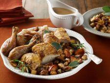 Pui la cuptor pe pat de castane, friptura perfecta pentru un pranz in familie