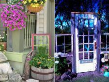 Decoruri de gradina uimitoare din usi si rame vechi de fereastra