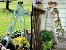 Suporturi de flori din scari de lemn